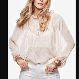 Free People Dream Sheer Sequin Cuff Blouse